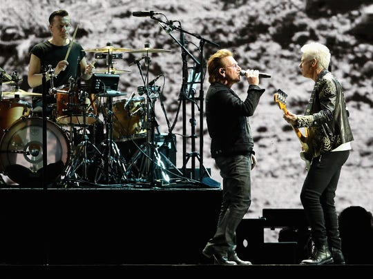 The Edge, Larry Mullen Jr, Bono and Adam Clayton of U2 perform. Mullen, Jr. lives in  Nyack.