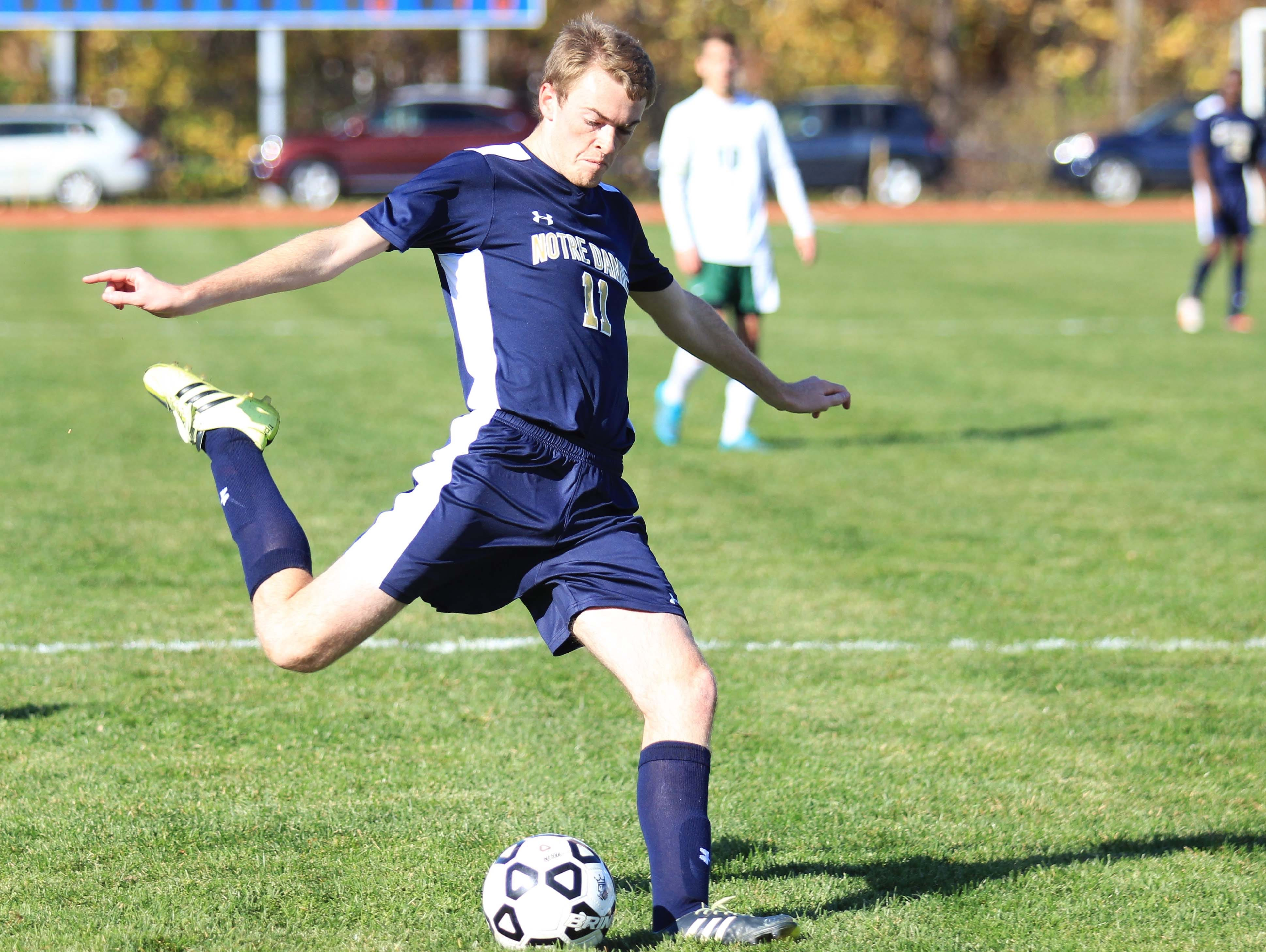 Notre Dame's Ryan Lanning takes a shot on goal during the NYSPHSAA Class C final in Middletown.