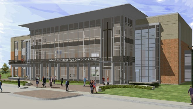 Concordia University of Wisconsin has scaled down the footprint of its proposed Robert W. Plaster Free Enterprise Center to 40,000 square feet, as depicted in this architectural rendering.