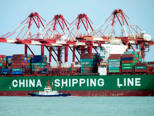 A China Shipping container ship is seen at the port