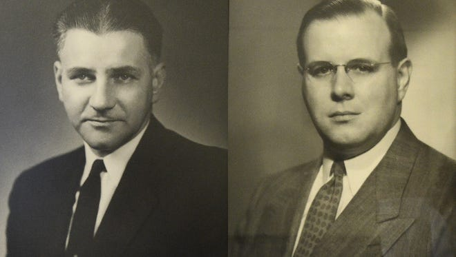 Ray Turner (left) and William Bailey, Battle Creek mayors during the mid-20th century. The two were likely the subjects of a research paper during the city's City Charter revisions in 1960, which eliminated the direct election of mayor.