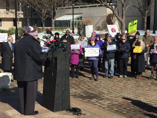 A rally Thursday morning in Wilmington by the ACLU