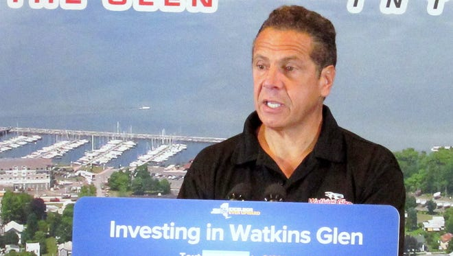 Gov. Andrew Cuomo announces that the Village of Watkins Glen will receive a $10 million state grant during a visit To Watkins Glen Racetrack on Thursday.