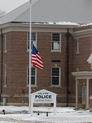 The flag outside the Kiel Police Station was flown