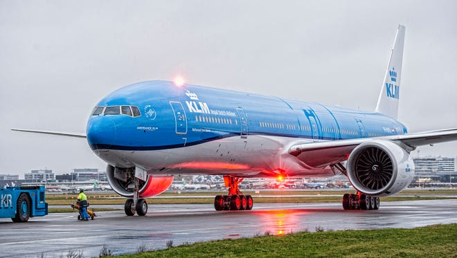 This file photo provided by KLM shows a Boeing 777 aircraft in the KLM livery.