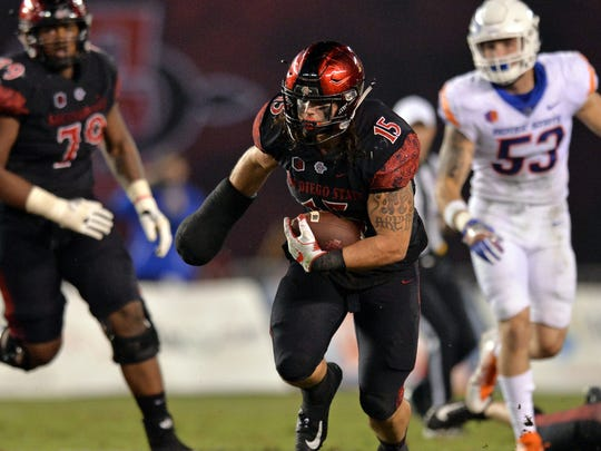 San Diego State fullback Nick Bawden runs the ball during the third quarter against Boise State at SDCCU Stadium on Oct. 14, 2017.