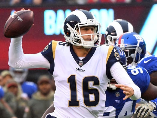 Los Angeles Rams quarterback Jared Goff throws for