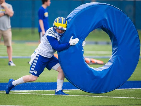 Delaware cornerback Pat Crowley runs through drills