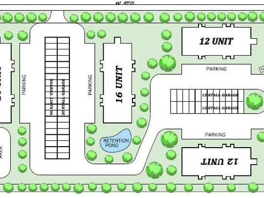 Schematic drawing of project plan by S.C. Swiderski for the Sturgeon Bay apartment complex project.