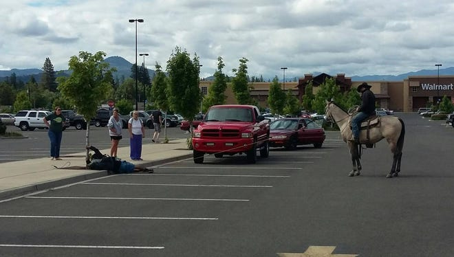 A man corralled a would-be bicycle thief Friday at the Eagle Point Walmart by capturing him with a lasso, police said.