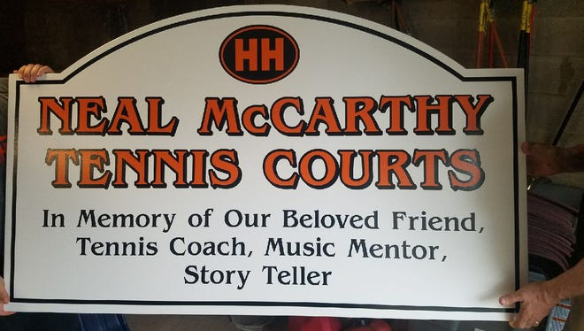 The Neal McCarthy namesake sign that will be seen in Hasbrouck Heights.