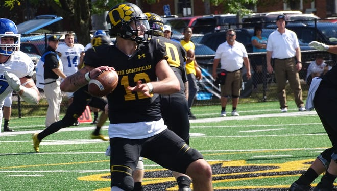 Newark graduate Grant Russell led Ohio Dominican to a 41-27 victory against Hillsdale on Saturday. He will finish his career No. 2 in most passing categories for the Panthers.