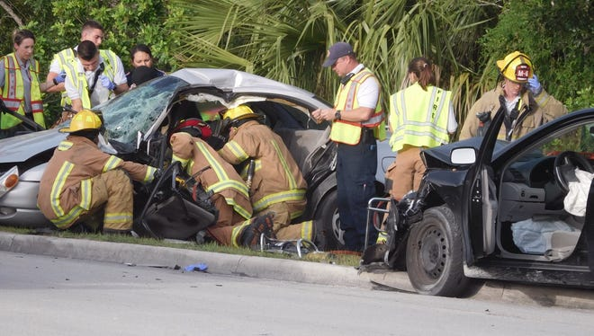 A two-vehicle crash just west of Vero Beach shut down traffic in all directions for a time Sunday, Oct. 22, 2017.