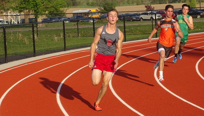 Johnstown senior Daniel Clark competes in the 400 on May 8 during the Licking County League-Cardinal Division meet at Lakewood.