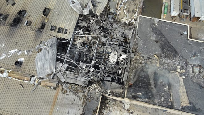 Drone footage taken by Michigan State Police show the damage after a fire May 2 at the Meridian Magnesium plant in Eaton Rapids, Michigan.