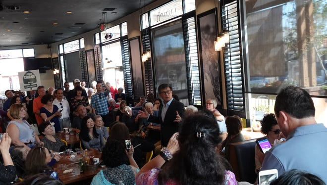 State treasurer John Chiang, who is running for governor in Tuesday's election, addressed an enthusiastic crowd Sunday afternoon in Oxnard as candidates make final campaign stops.
