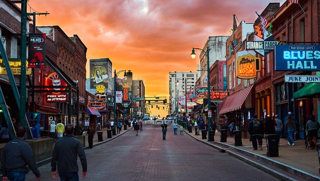 This is sunset on Beale Street. This iconic Memphis street has some of the best live music in the south.