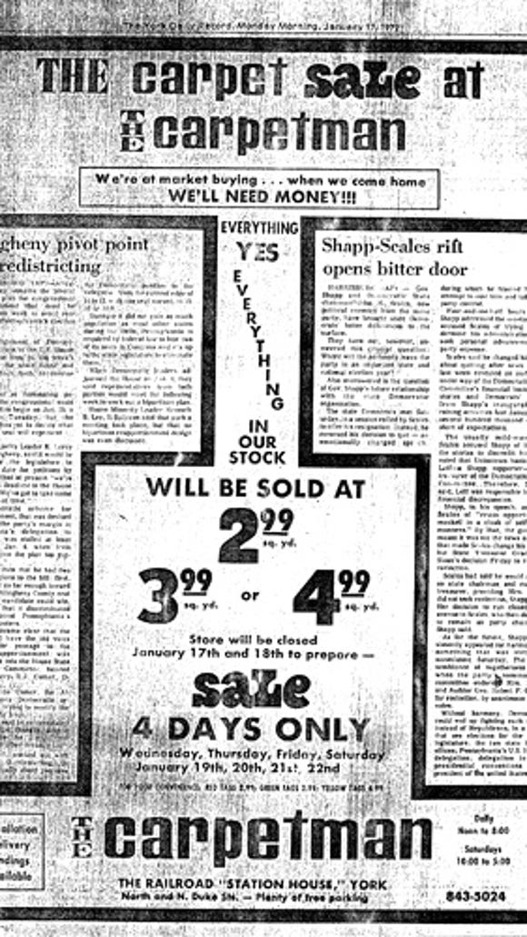 The Carpetman Sale Ad, January 17, 1972 (Jim McClure's blog)submitted