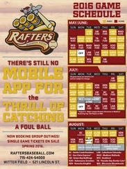 The 2016 schedule for the Wisconsin Rapids Rafters.