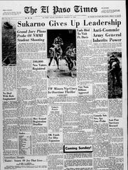 El Paso Times front page that ran on March 12, 1966.