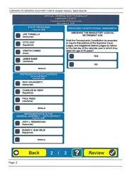 A sample ballot for the Nov. 8 election.