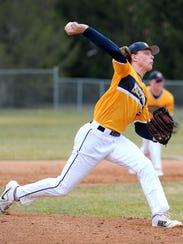 Portage Central freshman Luke Leto fires in a pitch