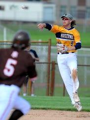 Portage Central freshman Luke Leto fires the ball to