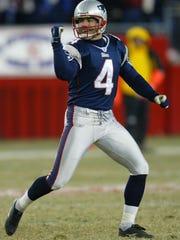 New England Patriots kicker Adam Vinatieri celebrates