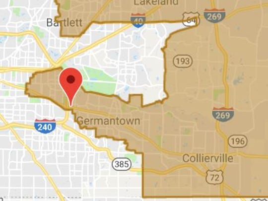 This Google map posted on U.S. Rep. David Kustoff's web site offers a closer look at the outlines of District 8 in Shelby County.