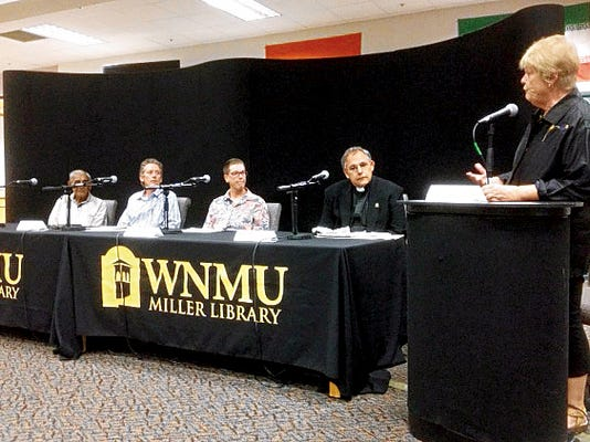 """The Grant County Democratic Party and Western New Mexico MEChA hosted a forum entitled """"Same-sex marriage? Did Love Win?"""" at the WNMU J. Cloyd Miller Library on Thursday, which included panelists, Dr. Joe Saide, from left, Rev. Tyler Connoley, Alicia Edwards, Father Anthony Basso, and moderator Mary Hotvedt. Mary Alice Murphy   Sun-News"""
