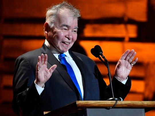 John Prine acknowledges the crowd at the Americana Music Honors & Awards on Sept. 13, 2017, at the Ryman Auditorium in Nashville.
