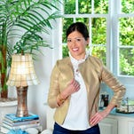 """Model: Jennifer Weitzel. Elizabeth McKay gold herringbone """"Pizzie"""" jacket, $256, Elizabeth McKay """"Burke"""" top, $195, The Stilt jeans, $168, Rain-hammered gold circle bracelet, $14, and Sylvia Benson Mitchell stud earrings $72, all at Bluetique.<br /> <p>For this story and more stories and photos, see the November issue of Pensacola Bella Magazine, and go to www.BellaMagazine.com.</p>"""