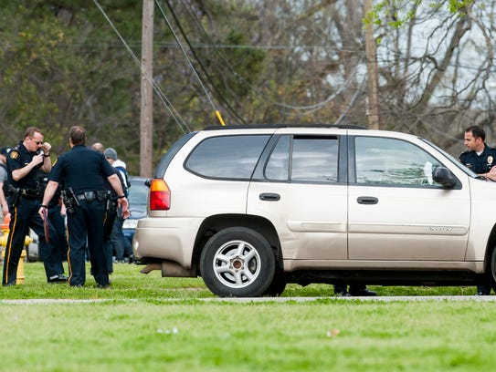 Montgomery Police work the scene of a shooting in a