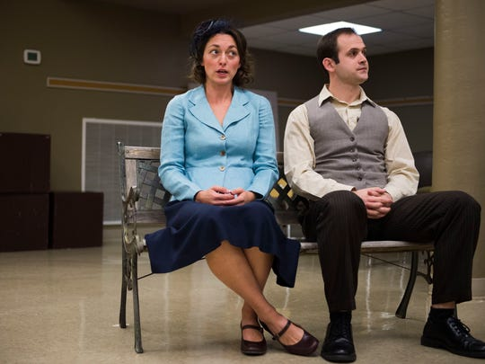 """Rachel Norman and Mark Jennings rehearse a scene during a """"See Rock City"""" play rehearsal put on by WordPlayers at Erin Presbyterian in Knoxville, Tenn. Tuesday, Oct. 17, 2017. WordPlayers is a theater group that is based in Judeo-Christian values. The 20-year-old theater often performs secular theater but also more overt religious stories too."""