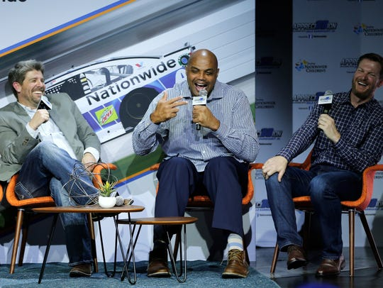 Charles Barkley and Dale Earnhardt Jr. talk on stage during Appreci88ion An Evening With Dale Earnhardt Jr. presented by Nationwide at The Cosmopolitan on Nov. 28, 2017.
