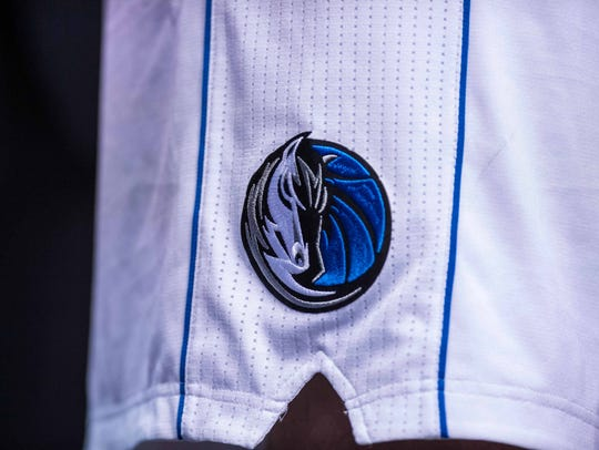 A view of the Dallas Mavericks logo on the shorts of