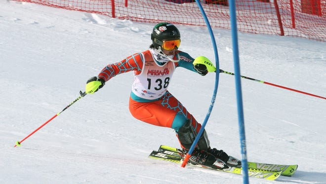 Brighton's Sam Vaden finished 19th in the slalom at Monday's Division 1 state ski meet at Boyne Highlands.