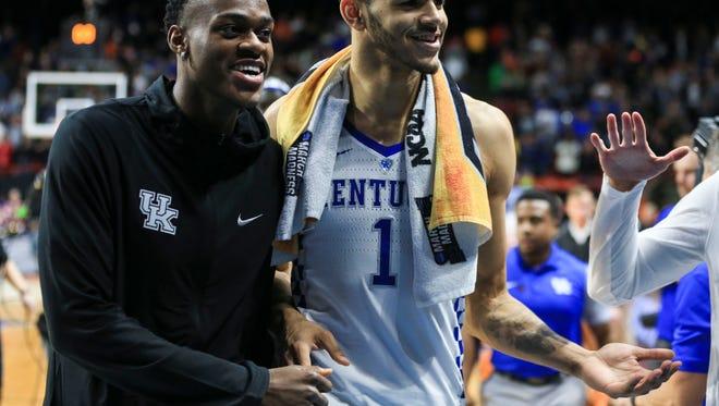 Kentucky's Jarred Vanderbilt congratulates teammate Sacha Killeya-Jones after the Wildcats beat Davidson in the NCAA first round regional in Boise. March 15, 2018