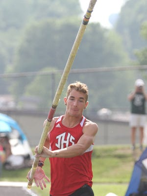 Johnstown-Monroe's Josiah Annis competes in the pole vault during the Division II Track and Filed Regional Championships at Lexington High School on Thursday afternoon.