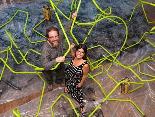 ArtPrize artists Nina Caruso of Rochester and Chris