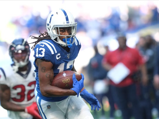 Indianapolis Colts' T.Y. Hilton (13) runs during the second half of an NFL football game against the Houston Texans, Sunday, Oct. 20, 2019, in Indianapolis. (AP Photo/AJ Mast)