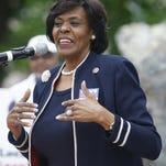 Carolyn Cheeks Kilpatrick spoke at a rally in  Detroit in 2010 at Hart Plaza.
