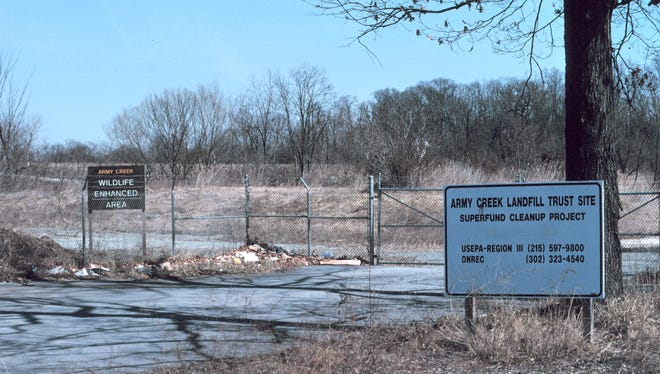 The Army Creek Superfund Site sits across Army Creek from the Delaware Sand and Gravel Superfund site.