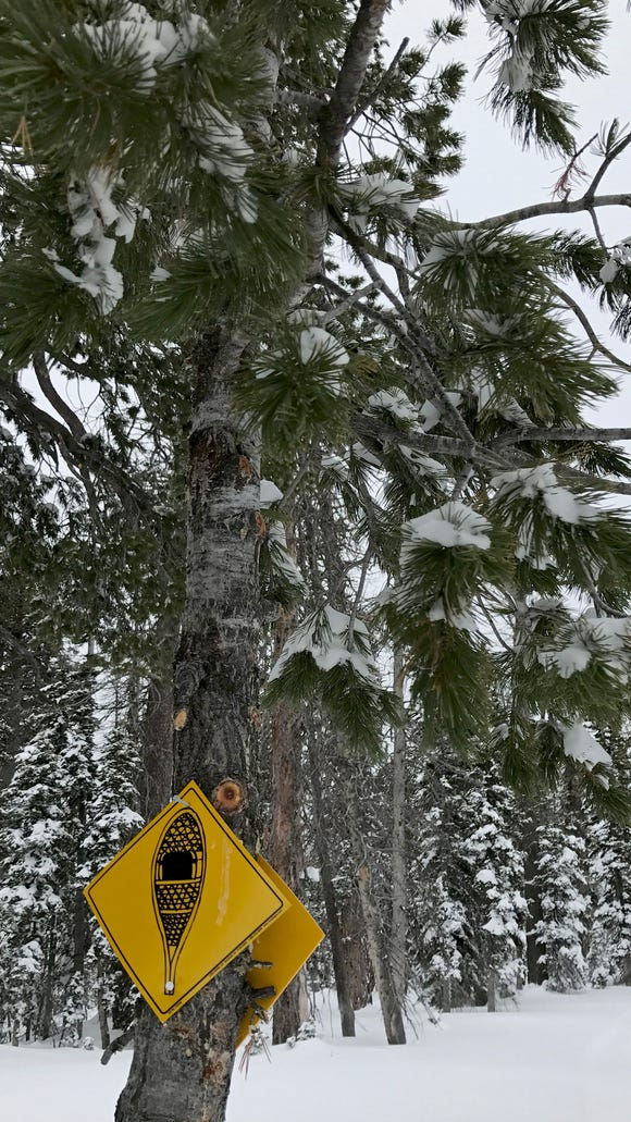 The Boulder Loop at Deer Hollow Winter Recreation Area in the Dixie National Forest is a 1.9-mile snowshoe route marked by these yellow signs.