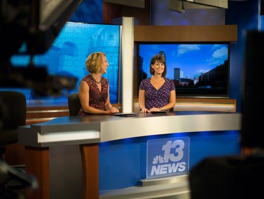 WHO-TV anchors Erin Kiernan, right, and Sonya Heitshusen