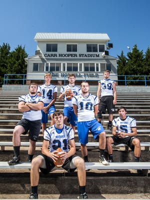 Smoky Mountain football players Connor Moore,  Chase Fisher, Carson Shuler, Jacob Gass, Nick Napert, Zack Beck and Jayce Wolfe.