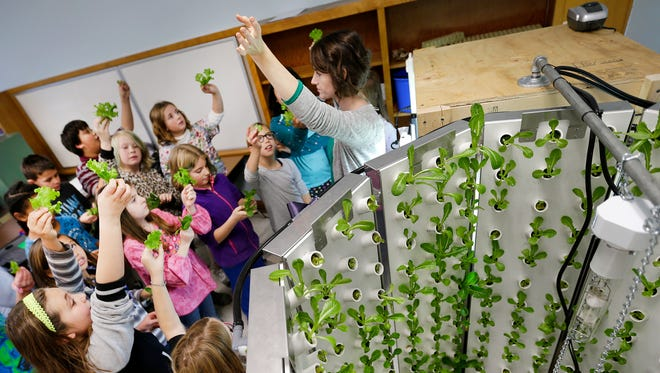 Goodwill Grows farm to school coordinator Kelly Hammond and Fox River Academy students get ready for a taste test after harvesting lettuce from the Goodwill Grows indoor growing machine. The Appleton charter school is located in Jefferson Elementary School.