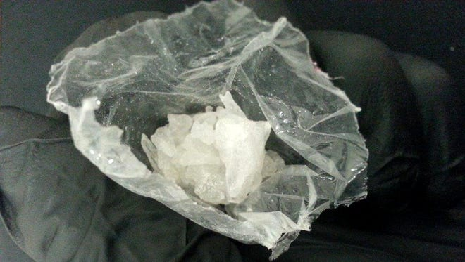 """Crystalline methamphetamine, or """"ice,"""" that was seized in Chilton on Aug. 7, 2014."""