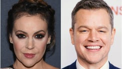 Actors Alyssa Milano and Matt Damon