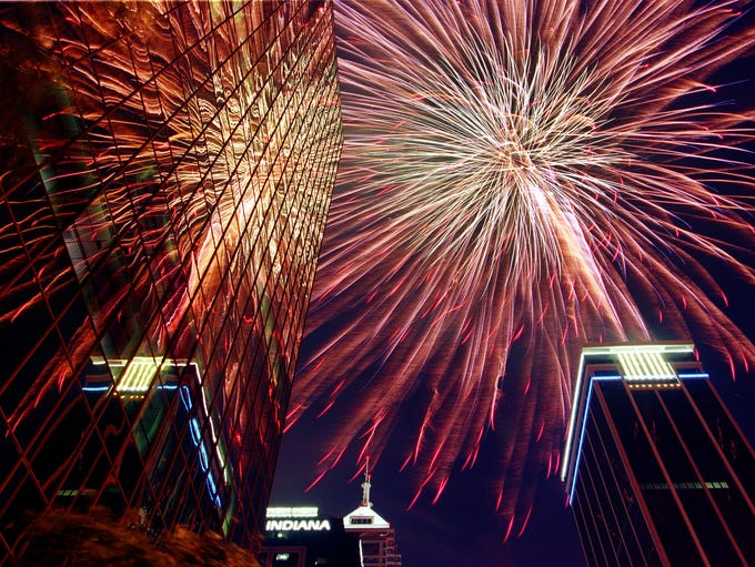 Fourth of July fireworks explode over the NBD Bank